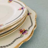 Wild Bros - Floral Cake Plate and  Tea Plate  x  4 - 1920s